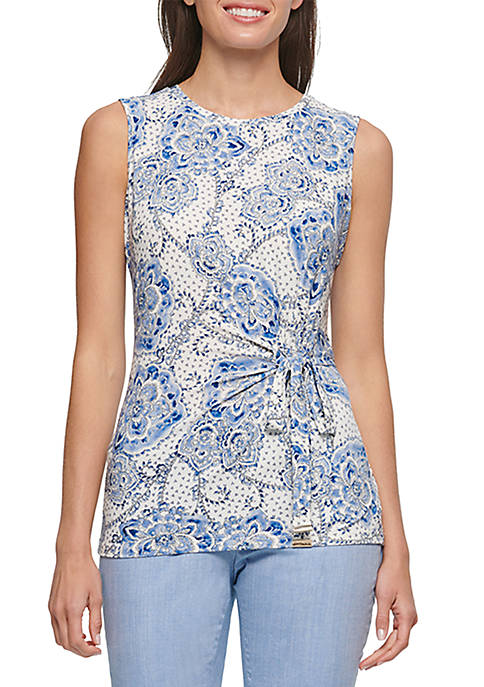 Floral Tie Waist Sleeveless Knit top