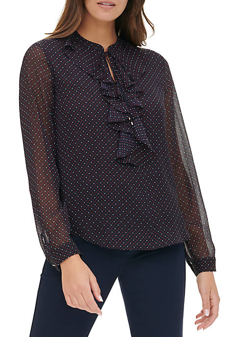 Womens Printed Ruffle Front Long Sleeve Woven Top