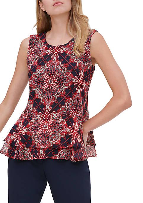 Tommy Hilfiger Womens Printed Peplum Sleeveless Woven Top