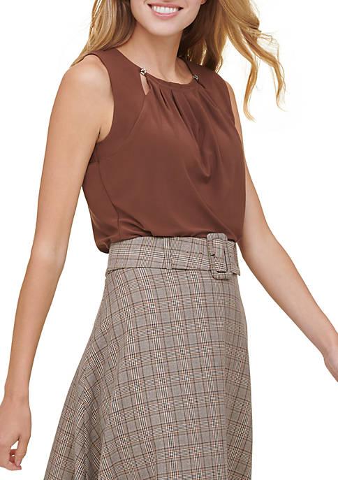 Tommy Hilfiger Womens Bead Neck Sleeveless Knit Top