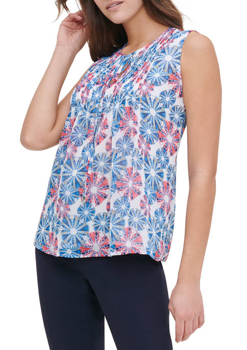 Womens Sleeveless Pintucked Front Print Blouse