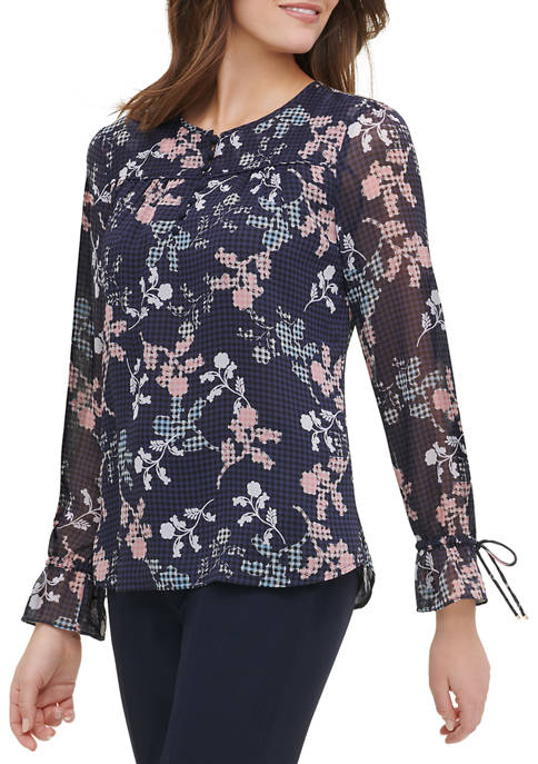 Womens Long Sleeve Floral Woven Blouse