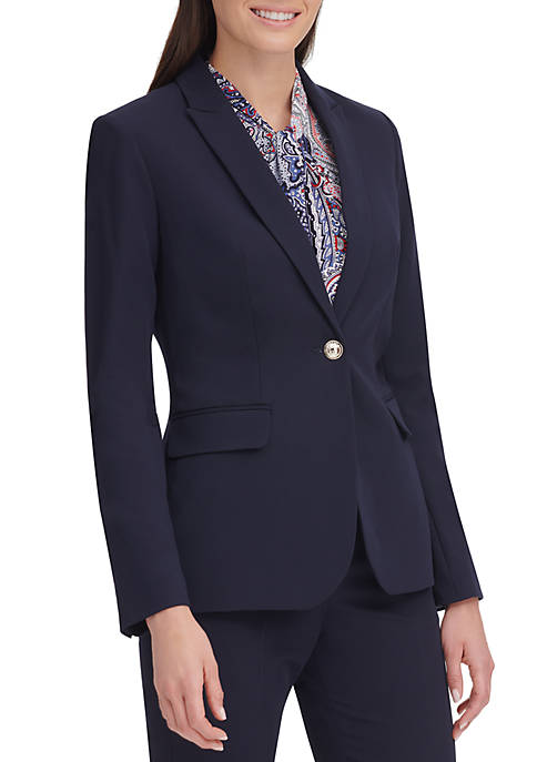 Womens 1 Button Twill Suit Jacket