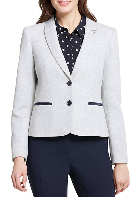 2 Button Knit Jacket with Elbow Patches