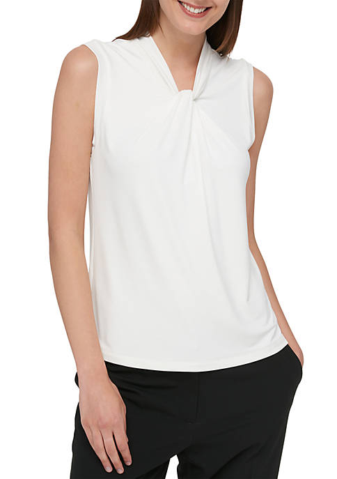 Sleeveless Knot Neck Knit Top
