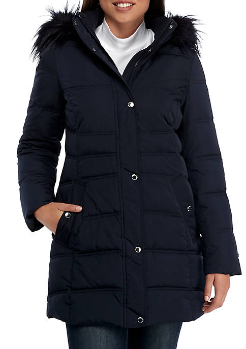 Tommy Hilfiger Faux Fur Long Hooded Puffer Jacket