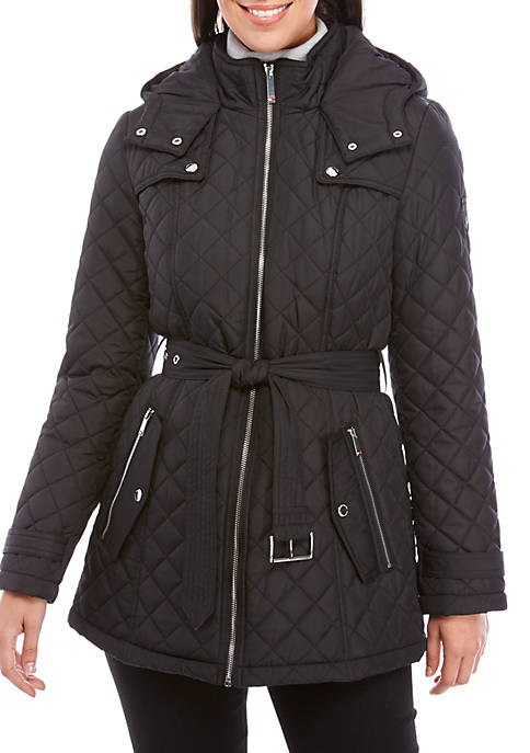 Tommy Hilfiger Belted Mid Length Quilted Jacket