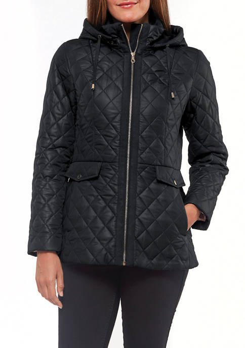 Womens 27 Inch Zip Front Hooded Fit Quilted Jacket