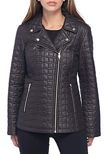Quilted Bow Notch Collar Short Jacket