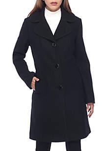 Black Trim Boiled Wool Long Coat