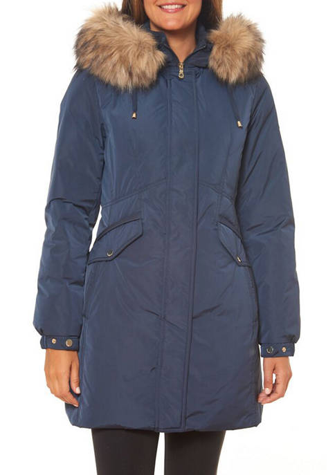 Womens Zip Front Mid Length Puffer Jacket