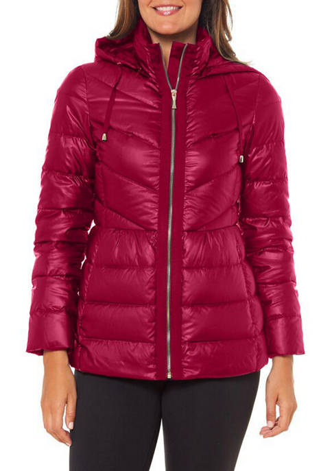 Womens Zip Front Hooded Puffer Jacket