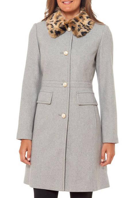Womens Faux Fur Trim Coat