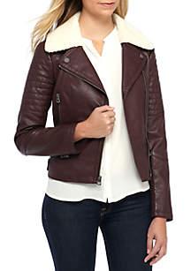 Asymmetric Zip Sherpa Faux Suede Jacket