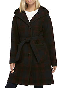 Plaid Wrap Wool Coat