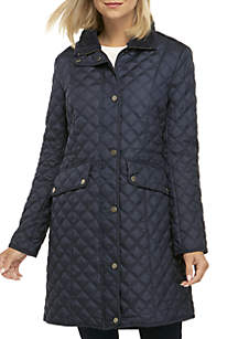 Long Zip Quilted Jacket with Hood