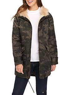 Fur Trim Hooded Anorak Coat