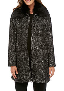 Alex Wool Coat with Detached Fur Collar