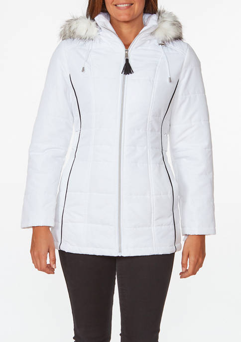 New Directions® Womens Fur Trim Hooded Puffer Jacket