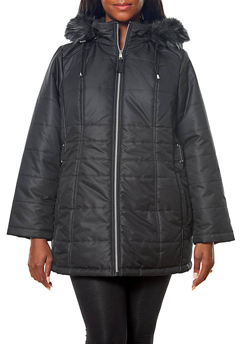 New Directions® Plus Size Fur Trim Hood Puffer