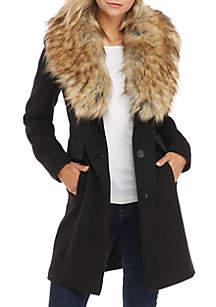 Fur Trim Faux Wool Coat