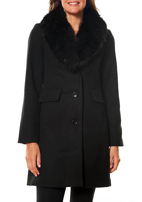 Kaari Blue™ Fur Trim Wool Blend Coat