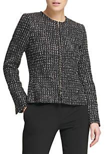 Tweed Collarless Zip Front Jacket