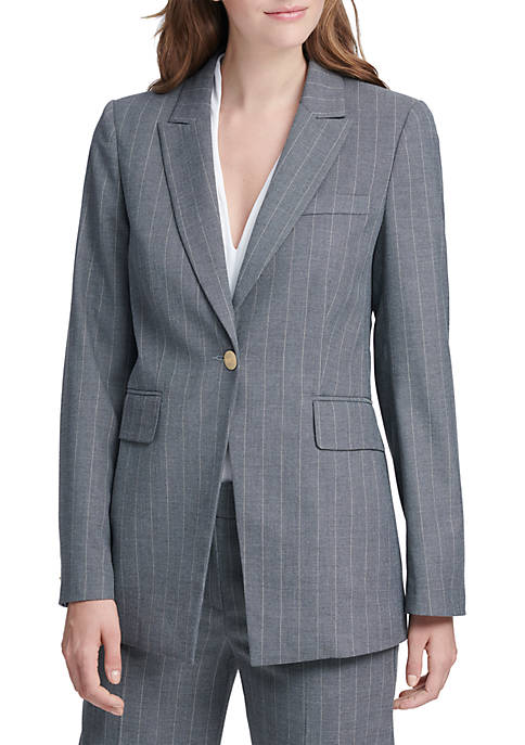 Donna Karan Long 1-Button Pinstripe Jacket