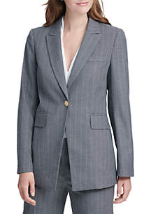 Long 1-Button Pinstripe Jacket