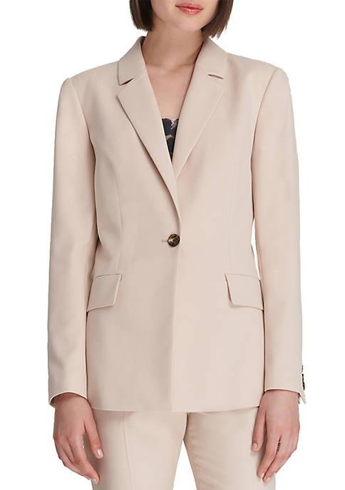 Donna Karan Single Button Jacket with Pockets