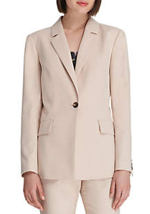 Single Button Jacket with Pockets