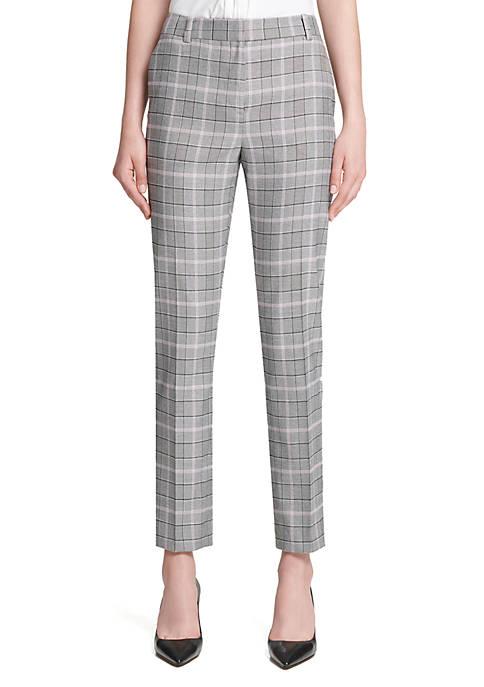 Donna Karan Plaid Slim Pants
