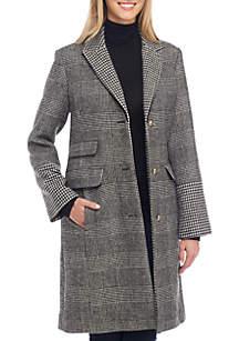 Long Plaid Topper Coat