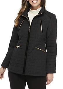 Velvet Anorak Zip Front Coat