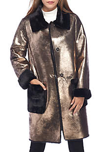 Long Sherling Coat With Gold Detail