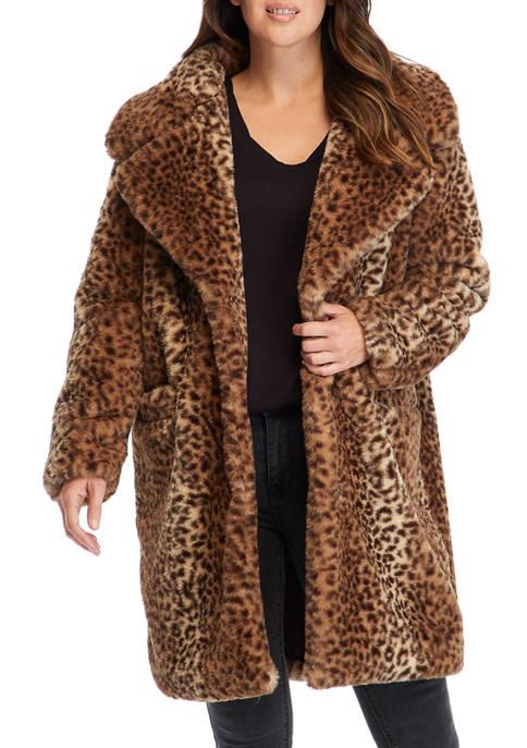 Womens Cheetah Faux Fur Jacket