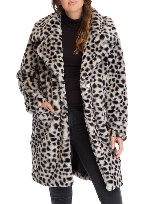 C&C California® Womens Leopard Faux Fur Jacket