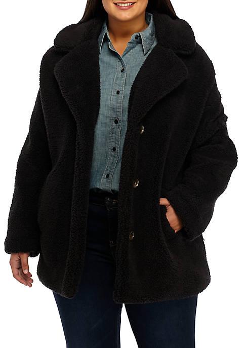 Plus Size Button Front Babbo Fleece Jacket