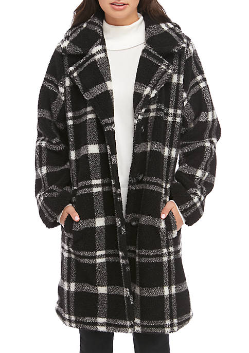 Plaid Sherpa Button Front Coat