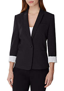 19de8f2ece5 ... Tahari ASL 1 Button Jacket with Contrast Roll Sleeves