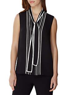 Tahari ASL Cap Sleeve Contrast Tie Neck Top
