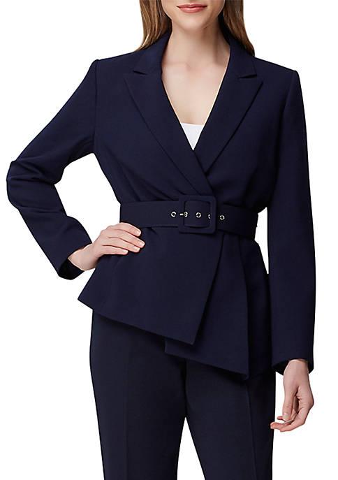Asymmetric Hem Belted Jacket