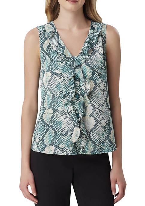 Womens Sleeveless Snake Print V-Neck Woven Blouse