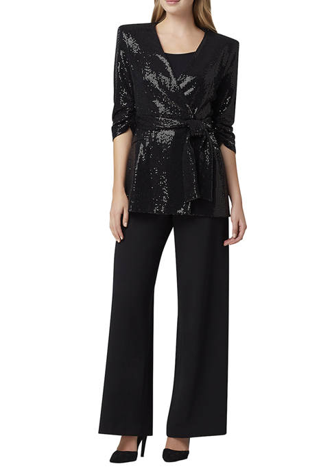 Womens Sequin Wrap Jacket with Self Tie
