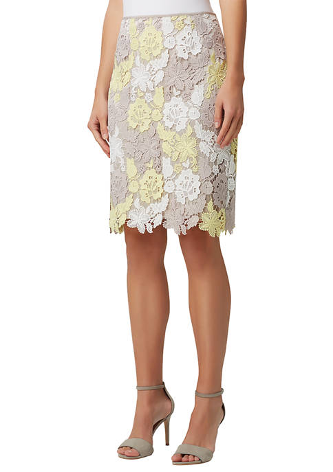 Womens Floral Lace Pencil Skirt