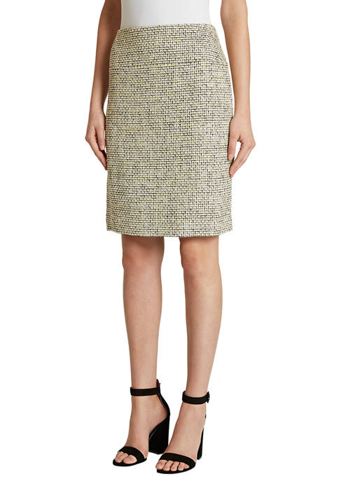 Womens Shimmer Tweed A-Line Skirt