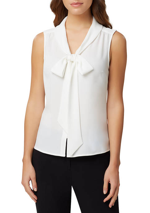 Womens Sleeveless Low Bow Blouse