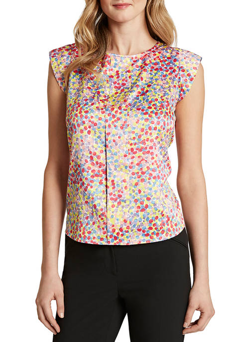 Womens Cap Sleeve Pleat Front Multi Textured Dot Top