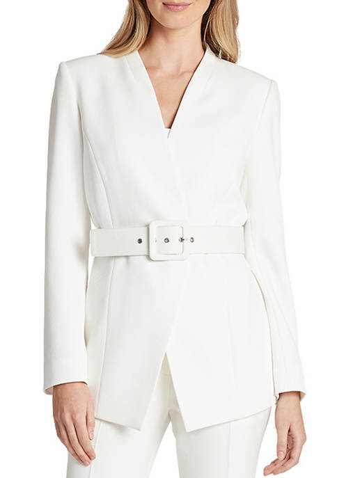 Womens Collarless Belted Jacket