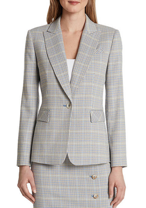 Womens Faux Double Breasted Plaid Jacket